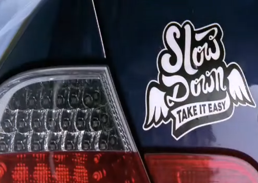 Slow Down Car Sticker