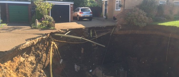 20-metre sinkhole opens up in St Albans