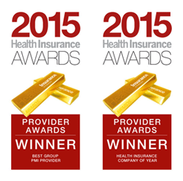 Winner of Health Insurance Company of the Year and Best Group PMI Provider for 2010, 2011, 2012, 2013, 2014 & 2015