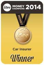 The Love Money Car Insurer 2014 Award Winner for best temp cover